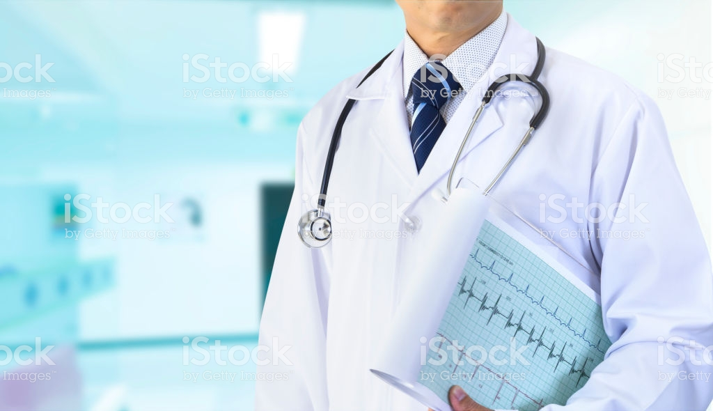 A cardiologist with white coat