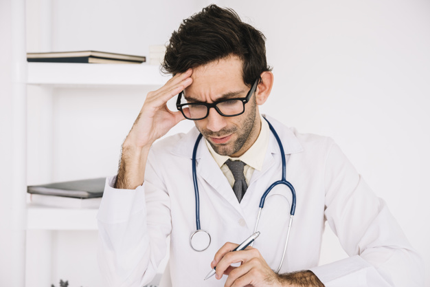 Doctor dealing with stress
